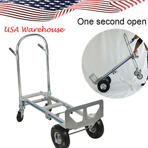 Us Professional 2in1 Aluminum Hand Truck 770lbs 51 height Convertible Hand Truck