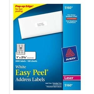 Dmsp 5160 avery Easy Peel White Address Labels For Laser Printers 1 X 2 5 8
