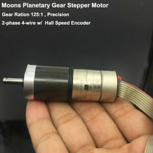 Moons Mini Planetary Metal Gear Stepper Motor 2 phase 4 wire Speed Encoder Hall