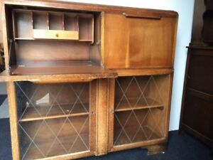 Oak Cabinet Glass Doors Bureau And Drink Bar