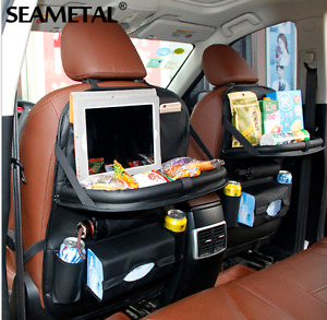 Adjustable Leather Car Seat Cover Tray Travel Kids Truck Jeep Organize Food Uber