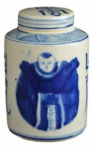 Antique Style Blue And White Porcelain Good Luck Ceramic Covered Jar Vase
