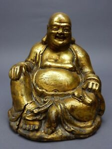 Large Chinese Intricately Carved Gilt Wood Buddha Statue 9 Inches