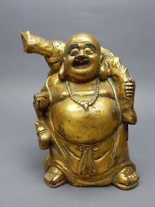 Large Chinese Intricately Carved Gilt Wood Buddha Statue 10 Inches