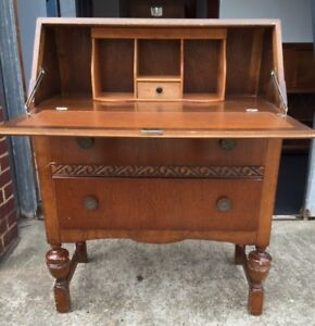 Vintage Oak Writing Desk Midcentury English Bureau