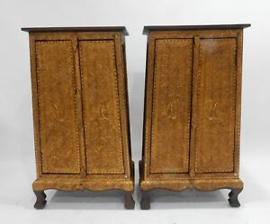 Gorgeous Pair Of Thai Teak Gilt Wood With Stones And Mirror Cabinets 40 Inches