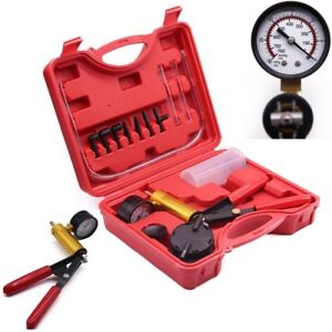 Car Auto Hand Held Vacuum Pump Tester Set Brake Bleeding Gauge Test Kit
