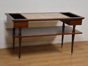 Walnut And Tile Mid Century Tv Stand Console Table