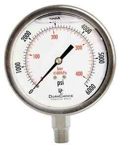 4 All Stainless Steel Pressure Gauge 3 8 Npt Lower Mnt 6000psi