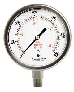 4 All Stainless Steel Pressure Gauge 3 8 Npt Lower Mnt 300psi