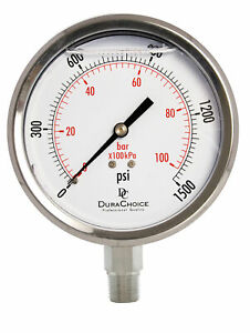 4 All Stainless Steel Pressure Gauge 3 8 Npt Lower Mnt 1500psi
