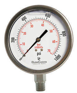 4 All Stainless Steel Pressure Gauge 3 8 Npt Lower Mnt 1000psi