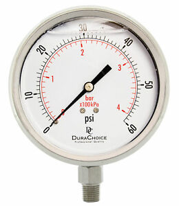 4 All Stainless Steel Pressure Gauge 1 4 Npt Lower Mnt 60psi