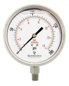 4 All Stainless Steel Pressure Gauge 1 4 Npt Lower Mnt 200psi