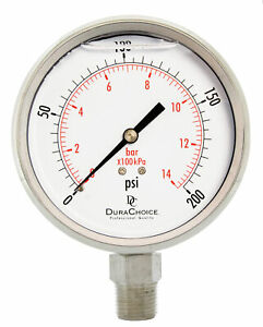 4 All Stainless Steel Pressure Gauge 1 2 Npt Lower Mnt 200psi