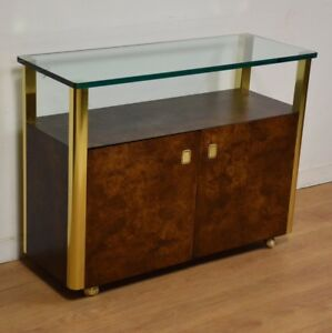 Brass Burl And Glass Mid Century Bar Cart By Century Furniture Company