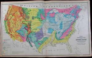 United States U S Geological Map Coal Volcanic Devonian Cretaceous 1876 Gray