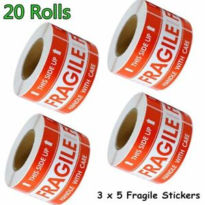 20 Rolls 500 roll Large 3 X 5 Fragile Stickers Handle With Care Shipping Labels