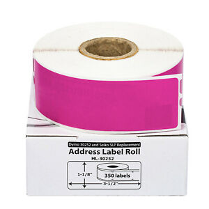12 Rolls Of 350 Purple Address Labels For Dymo Labelwriters 30252