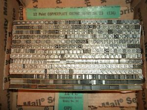 Vintage 12pt Heavy Copperplate Gothic Letterpress Foundry Type Printing Antique