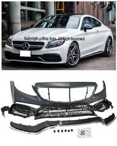 For 15 Up W205 C205 C Class With Pdc C63 Amg Style Front Bumper Cover Body Kit