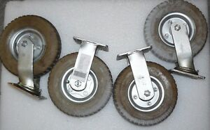 Lot Of 4 Industrial 8 Inflatable Casters 2 Swivel 2 Stationary Rubber 2 50 4