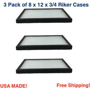 3 Pack Of 8 X 12 X 3 4 Riker Display Cases Boxes For Collectibles Jewelry More