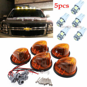 5pcs Roof Top Cab Marker Round Amber Lens White Lights Fit 1973 1987 Chevy Gmc