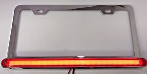 Red Led Chrome License Plate Frame W Third Brake Light Function