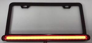 Black License Plate Frame W Red Led Third Brake Light Function