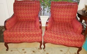 Antique Mahogany Arm Chair Red Brocade Pair