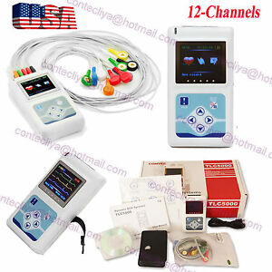 12 Channel 24h Portable Ecg Ekg Holter Analyze System Recorder Monitor Software