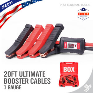 Comercial Heavy Duty 20 Ft 1 Gauge Booster Cable Jumping Cables Power Jumper Us