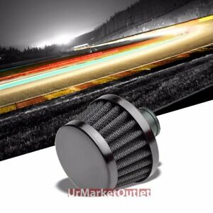 Black Universal 9mm Oil Crankcase Valve Vent Round Tapered Air Filter Breather