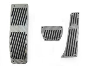 3pcs Silver Carbon Fiber Auto Dead Rest Pedals For 1999 2006 Bmw E46 3 Series