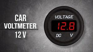 Car Atv Utv Red Led Digital Voltage Gauge Voltmeter