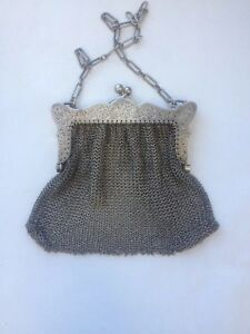 96 G L S Sterling Mesh Coin Purse Antique