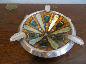 Middle Century Spain Sterling Copper Enamel 10 Bowl Ashtray Dish Marked Rare