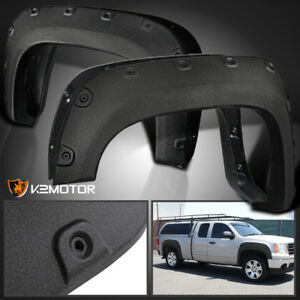 Rugged Textured 2007 2013 Gmc Sierra 1500 Bolt On Pocket Rivet Fender Flares 4pc