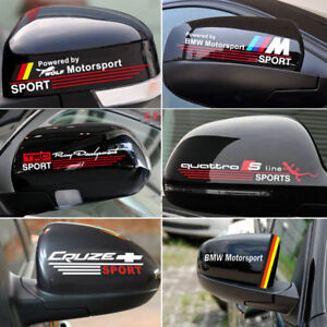 For Bmw Audi Vw Motorsport Car Rear View Mirror Sticker Badge Emblem Decal White