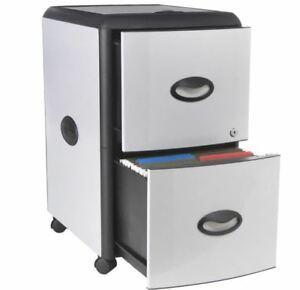 2 Drawer Mobile File Cabinet Lock Metal Office Panels Extra Storage Two Plastic