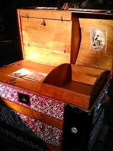 Blackdog Antique Dome Steamer Trunk Victorian Wood Chest Stagecoach C 1800