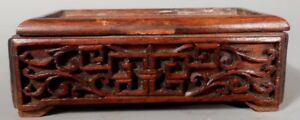 China Chinese Carved Wood Stand W Secret Compartment Ca 20th Century