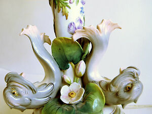 Wonderful Vintage Dolphins Water Lilly Figural Hand Painted Ceramic Table Lamp