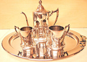 Antique Silver On Copper Coffee Tea Set Made In Usa C1930 By Armor Silver Co