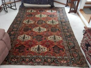 Ca 1900 Unusual Antique Persian Bijar Carpet With Chahar Mahal Bakhtiari Design