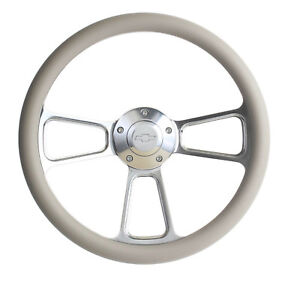 Chevy C10 Pick Up Truck 14 Grey Billet Steering Wheel With Chevy Horn