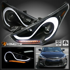 For 12 15 Hyundai Veloster Led Sequential Signal Black Projector Headlights