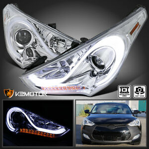 For 2012 2017 Hyundai Veloster Clear Led Sequential Signal Projector Headlights