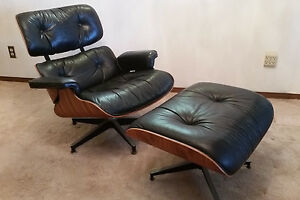 Charles Eames Herman Miller Original Rosewood 78 Blk Leather Chair